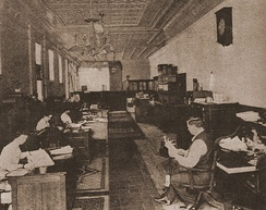 Big Bill Haywood and office workers in the IWW General Office, Chicago, summer 1917.