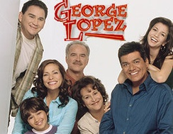 The season 4 cast of George Lopez (from left to right): Valente Rodriguez as Ernie Cardenas, Constance Marie with Luis Armand Garcia as Angie and Max Lopez, Emiliano Díez as Vic Palmero, Belita Moreno as Benny Lopez, George Lopez, and Masiela Lusha as Carmen Lopez.