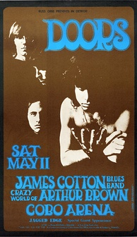 Poster for a 1968 concert at the Cobo Arena, Detroit