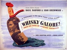 The faces of Basil Radford and Joan Greenwood appear in a cartoon whisky bottle; the top of the bottle wears a Tam o' shanter and tartan scarf