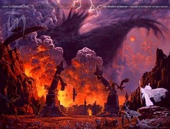 The climax of The Lord of The Rings, as portrayed by  Ted Nasmith