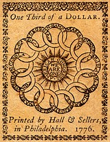 du Simitiere's initial sketch, and Franklin's earlier design on a 1776 currency note