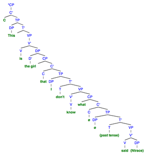 "Sentence 6A: This syntactic tree of the sentence ""*This is the girl that I don't know what said"" demonstrates the structure when there is no obligatory resumptive pronoun used. To denote a null category, ""ø"" is used. The ""*"" marks an ungrammatical sentence"