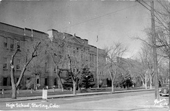 The original Sterling High School, built in 1909. This building later served as the Sterling Junior High School until the 1980s.