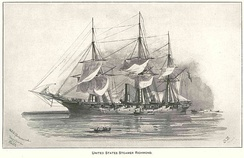 USS Richmond, wooden steam sloop of the Union fleet. The Manassas proved to be slow and difficult to maneuver on the Mississippi River.[7]