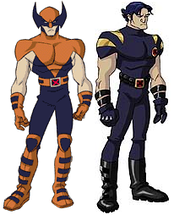 The two incarnations of Wolverine, from X-Men: Evolution. On the left his look in seasons 1 and 2, inspired by his look at the beginning of the traditional X-Men comics, on the right his look in seasons 3 and 4, inspired by his later look in the Ultimate X-Men comic.