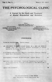 Cover of The Psychological Clinic, the first journal of clinical psychology, published in 1907 by Lightner Witmer