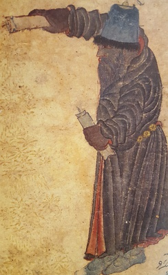 Turkish Siyah Qalam depiction of Iblis, appearing as a bearded black man wearing a headcover.