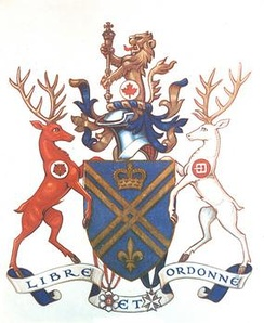 Canadian Governor General Roland Michener's arms, depicting his St John insignia below right