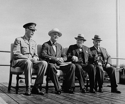 King (far right) together with (from left to right) Governor General the Earl of Athlone, Franklin D. Roosevelt and Winston Churchill at the Octagon Conference, Quebec City, September 1944