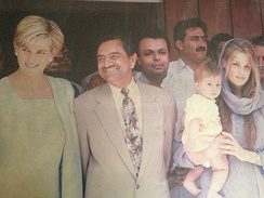 Diana (far left) with Muhammad Iqbal Gujjar and Jemima Khan in Pakistan in 1997