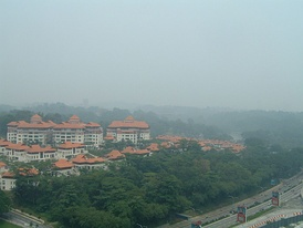 Overlooking the Perdana Lake Gardens in Kuala Lumpur at noon of 16 October 2006. The API read 76 at 11 AM. On a clear day, the Parliament and the National Monument would be visible on the horizon.