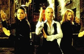 One of the most widely reproduced publicity images from Charlie's Angels features (L to R) Lucy Liu, Cameron Diaz, and Drew Barrymore in defensive posture as they prepare to subdue The Thin Man.
