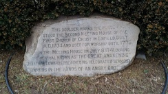 Monument in Enfield, Connecticut commemorating the location where Sinners in the Hands of an Angry God was preached