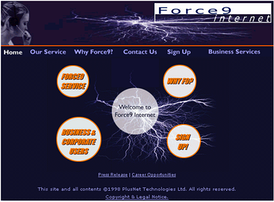 Screenshot of the original Force9 webpage, from 1998