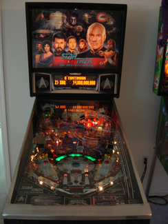 A pinball machine themed for Star Trek: The Next Generation