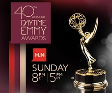Promotional poster of the 40th Daytime Emmy Awards in black and red.