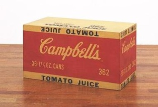 A plain-looking box with the Campbell's label sits on the ground.