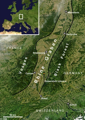Satellite image showing the southern section of the Upper Rhine Plain and the rift flanks of Vosges, France, and the Black Forest, Germany.