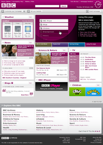 The BBC homepage in March 2010.