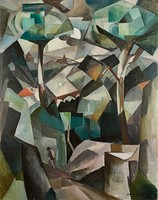 Albert Gleizes, 1911, Le Chemin, Paysage à Meudon, Paysage avec personnage, oil on canvas, 146.4 × 114.4 cm. Stolen by Nazi occupiers from the home of collector Alphonse Kann during World War II