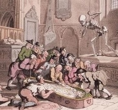 Thomas Rowlandson's caricature, Death and the Antiquaries, 1816. A group of antiquaries cluster eagerly around the exhumed corpse of a king, oblivious to the jealous figure of Death aiming his dart at one of them. The image was inspired by the opening of the tomb of Edward I in Westminster Abbey by the Society of Antiquaries in 1774.