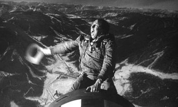 "Slim Pickens as Major ""King"" Kong riding a nuclear bomb to oblivion in Dr. Strangelove"