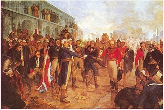British invasions of the Río de la Plata. Beresford surrenders to Santiago de Liniers (1806).