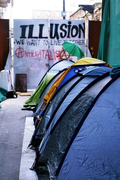 Tents at the Occupy Buffer Zone camp in Nicosia