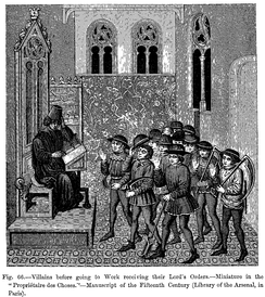 French villeins in the 15th century before going to work, receiving their Lord's Orders.