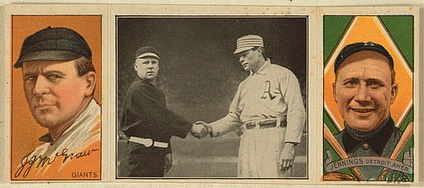 John McGraw (left) and Hughie Jennings (right) anchored the left side of the infield for Orioles teams that won three straight National League pennants (1894–1896). Later, both were successful managers. (Note: In the middle image, McGraw is shaking hands with Athletics captain Harry Davis, right).