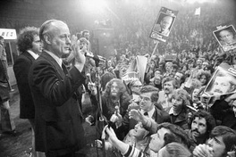 René Lévesque in Paul Sauvé arena, Montreal, on the 1973 election night