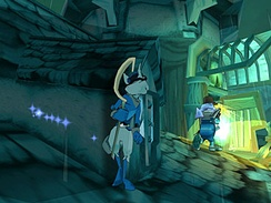 A screenshot from Sly Cooper and the Thievius Raccoonus, showing Sly hiding from a guard. The blue lights to the left indicate Sly's thief senses, in this case, a wall that he can slide against.