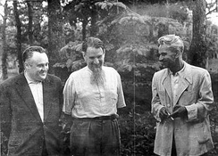 """Chief Designer"" Sergei Korolev (left), with the ""father of the Soviet atomic bomb"" Igor Kurchatov, and ""Chief Theoretician"" Mstislav Keldysh in 1956"