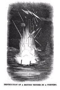 David Bushnell's mines destroying a British ship in 1777
