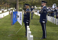 The USAF HG guidon, shown here during a funeral in Arlington National Cemetery, was created in 2000.