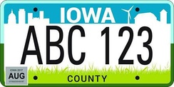 The current state license plate design, introduced in 2018.
