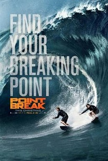 Two surfers are surfing over a big water wave, with the film's title and credits in front of them.