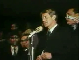 Kennedy giving his speech on Martin Luther King Jr.