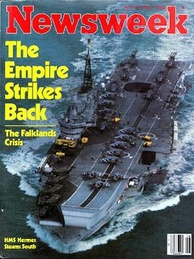 The cover of Newsweek magazine, 19 April 1982, depicts HMS Hermes, flagship of the British Task Force. The headline evokes the 1980 Star Wars sequel.