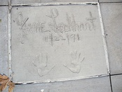 The handprints of June Lockhart in front of Hollywood Hills Amphitheater at Walt Disney World's Disney's Hollywood Studios theme park.