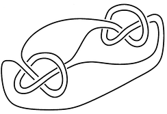 Example 6: A knot which is a 2-fold satellite i.e.: it has non-parallel swallow-follow tori.