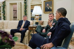 McChrystal meeting with President Obama and Ambassador Eikenberry in December 2009