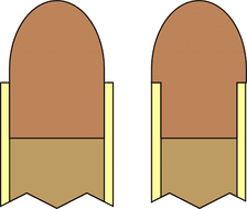 Heeled bullet design (right), compared to a more conventional bullet design (left)