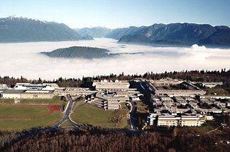 Aerial view of the Burnaby Mountain Campus