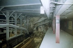 The Cortlandt Street station partially collapsed as a result of the collapse of the World Trade Center.