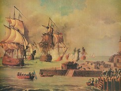 Attack of the British army on Cartagena de Indias. The battle resulted in a major defeat for the British Navy and Army during the War of Jenkins' Ear, 1739–48.[50]