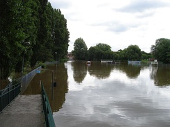 Flooding in King's Park, in Retford as a result of the River Idle overtopping its banks, taken on 27 June