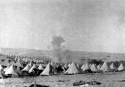 Romani 1 June 1916 bombs falling on B Squadron, 3rd Light Horse Regiment, 1st Light Horse Brigade tent lines 8 men killed 22 wounded, 36 horses killed 9 wounded, 123 missing