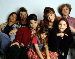 From left to right, Jared Leto as Jordan Catalano, A. J. Langer as Rayanne Graff, Wilson Cruz as Rickie Vasquez, Lisa Wilhoit as Danielle Chase, Devon Odessa as Sharon Cherski, Claire Danes as Angela Chase and Devon Gummersall as Brian Kraków